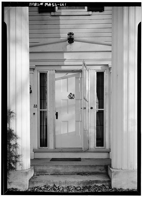 3.  Historic American Buildings Survey ENTRANCE DOORWAY DETAIL - November 1959 - Captain Samuel Lane House, 33 Main Street, Northfield, Franklin County, MA
