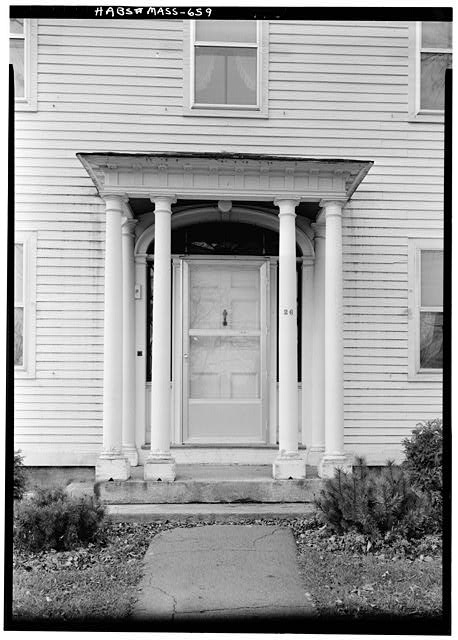4.   November 1959 DETAIL- MAIN ENTRANCE DOORWAY (EAST FRONT) - Isaac Mattoon House, 26 Main Street, Northfield, Franklin County, MA