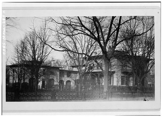 3.  Historic American Buildings Survey Photocopy, c. 1890 Courtesy of Mrs. James A. Dunlap, Jr. VIEW LOOKING NORTHWEST SHOWING SUMMER HOUSE IN FOREGROUND - Valentine-Fuller House & Garden, 125 Prospect Street, Cambridge, Middlesex County, MA