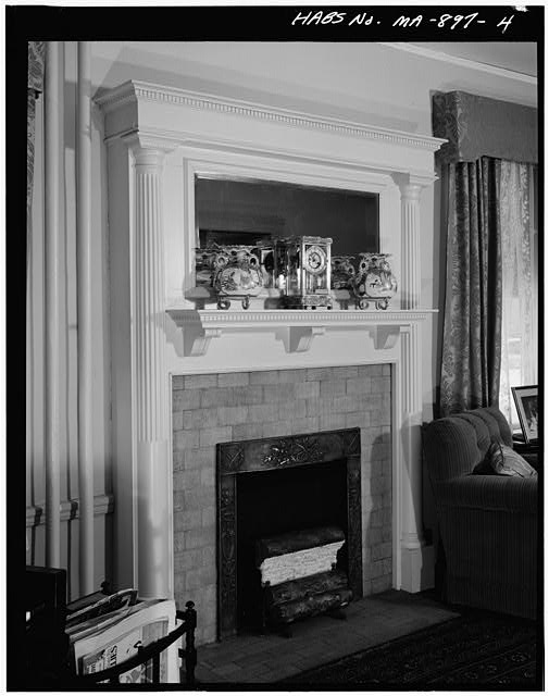 4.  FIRST FLOOR, LIVING ROOM, VIEW OF FIREPLACE - John Fitzgerald Kennedy Birthplace, 83 Beals Street, Brookline, Norfolk County, MA