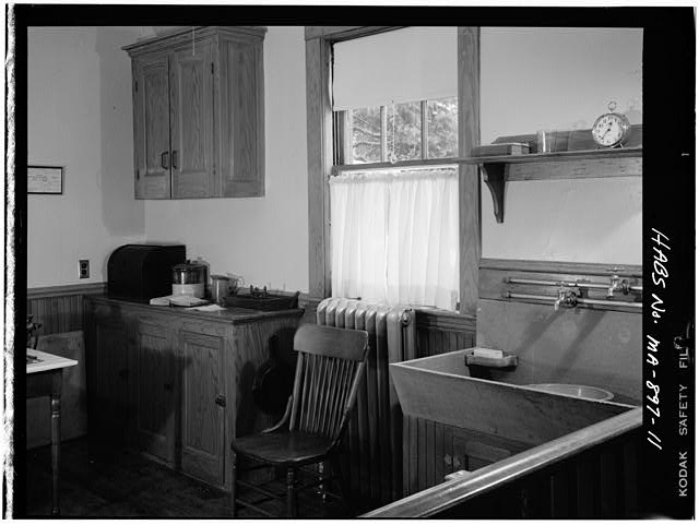 11.  FIRST FLOOR, KITCHEN, VIEW OF CABINETS AND WASHBASIN, VIEW TAKEN FROM REAR HALLWAY - John Fitzgerald Kennedy Birthplace, 83 Beals Street, Brookline, Norfolk County, MA