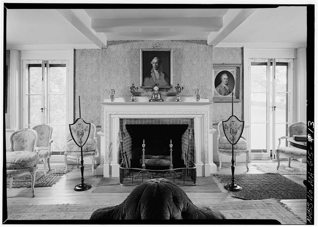 Long room, located in the 1800 addition, east wall - Adams Mansion, 135 Adams Street, Quincy, Norfolk County, MA