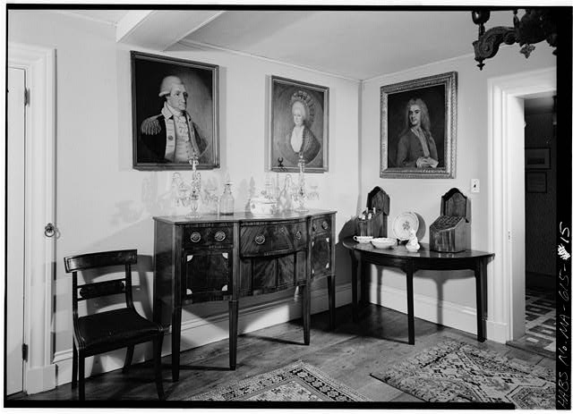 Dining room, looking northwest. Right-hand door leads to the corridor - Adams Mansion, 135 Adams Street, Quincy, Norfolk County, MA
