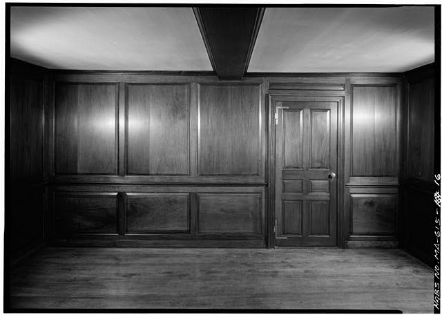 Mahogany paneled room, left-hand portion of original 1731 house, east wall - Adams Mansion, 135 Adams Street, Quincy, Norfolk County, MA