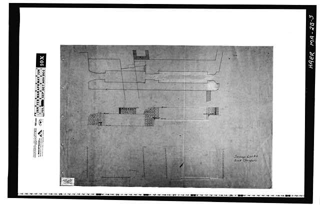 3.  Photocopy of a drawing (original in the Collection of the PL&C, Shelf 141, Drawing 25) --no date--SWAMP LOCKS AND LOCK CHAMBERS - Pawtucket Canal, Swamp Locks, Pawtucket & Merrimack Canals, Lowell, Middlesex County, MA