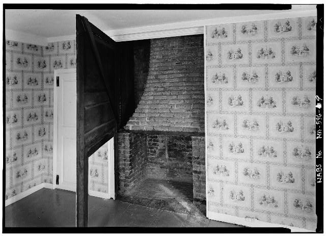Southwest room, east wall - John Adams Birthplace, 133 Franklin Street, Quincy, Norfolk County, MA