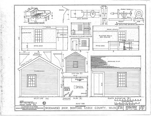 HABS MASS,5-BOX,4- (sheet 1 of 1) - Shoemaker's Shop, Georgetown Road, Boxford, Essex County, MA