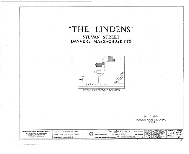 HABS MASS,5-DAV,2- (sheet 0 of 29) - The Lindens, Sylvan Street, Danvers, Essex County, MA