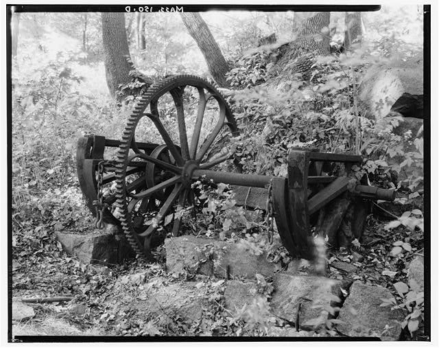 7.  Historic American Buildings Survey, Arthur C. Haskell, Photographer. April, 1934. (d) Portion of old machinery now lying beside track. - Granite Railway, Pine Hill Quarry to Neponset River, Quincy, Norfolk County, MA