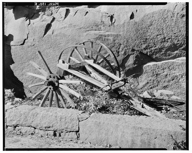 8.  Historic American Buildings Survey, Arthur C. Haskell, Photographer. April, 1934. (e) Portion of old quarry wagon at head of incline. - Granite Railway, Pine Hill Quarry to Neponset River, Quincy, Norfolk County, MA