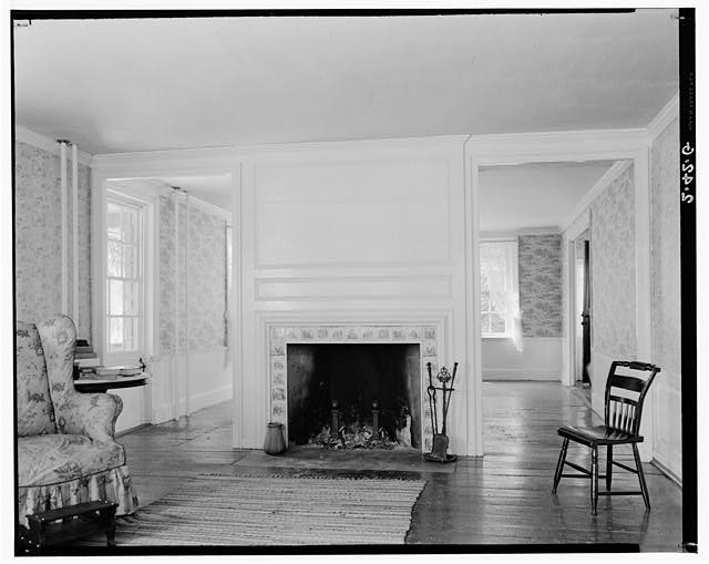 7.  Historic American Buildings Survey Arthur C. Haskell, Photographer August, 1934 (g) Int- Mantel in northeast room first floor - Colonel Josiah Quincy House, 20 Muirhead Street, Quincy, Norfolk County, MA
