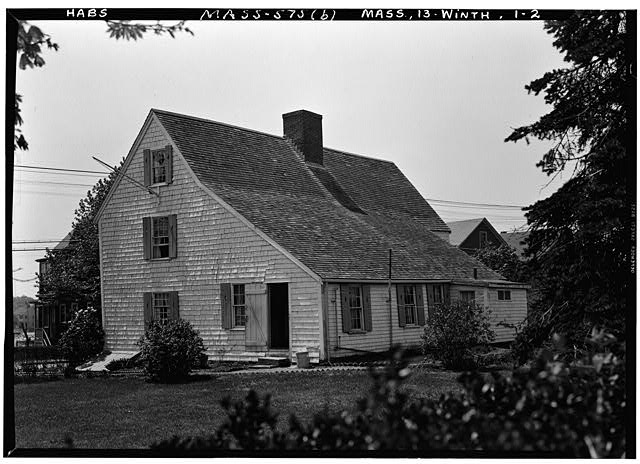 2.  Historic American Buildings Survey Frank O. Branzetti, Photographer May 6, 1941 (b) EXT.- REAR & SIDE, LOOKING SOUTHWEST - Deane Winthrop House, 40 Shirley Street, Winthrop, Suffolk County, MA