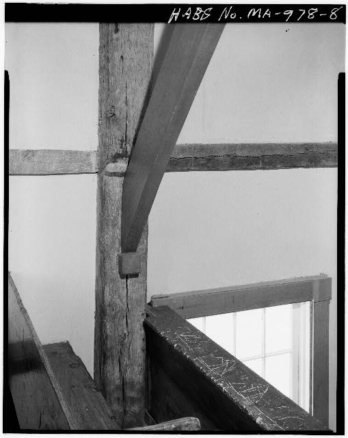 8.  FRAMING DETAIL, WEST SIDE OF GALLERY - Old Indian Church, Mashpee, Barnstable County, MA
