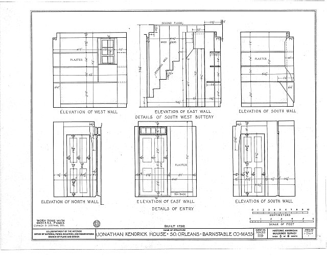 HABS MASS,1-ORLS,1- (sheet 5 of 6) - Jonathan Kendrick House, State Highway, South Orleans, Barnstable County, MA