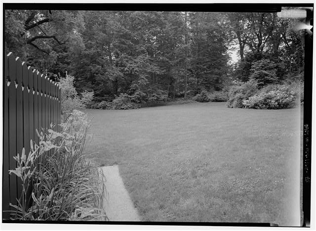 45.  VIEW LOOKING SOUTHEAST FROM THE PATH ALONG THE BARN FENCE TO THE SOUTH LAWN. - Fairsted, 99 Warren Street, Brookline, Norfolk County, MA