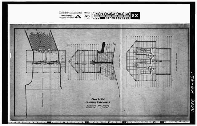 1.  Photocopy of a drawing (original in the Collection of the PL&C, Shelf 118, Drawing 190) PLAN OF THE HAMILTON GATE HOUSE SHOWING HOISTING APPARATUS, JANUARY 1903 - Hamilton Canal, Wasteway Gatehouse, Lowell, Middlesex County, MA