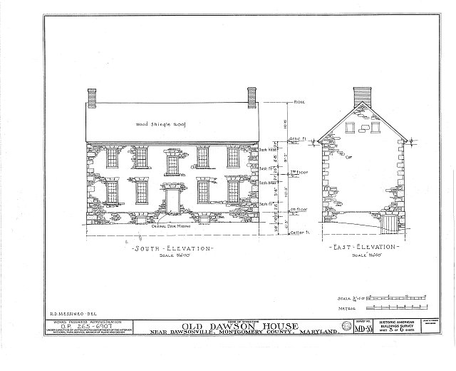 HABS MD,16-DAWV.V,1- (sheet 3 of 6) - Dawson House, 15200 Sugarland Road, Dawsonville, Montgomery County, MD