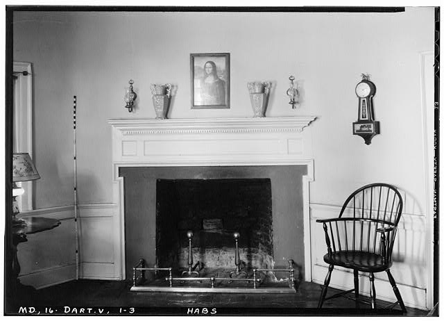 3.  Historic American Buildings Survey John O. Brostrup, Photographer September 4, 1936 2:15 P. M. DETAIL OF CORNER MANTEL IN SOUTHEAST CORNER OF NORTHEAST ROOM. - Pleasant Hills, 14800 Fisher Avenue (State Route 107), Darnestown, Montgomery County, MD