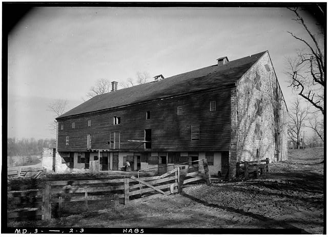 3.  Historic American Buildings Survey John O. Brostrup, Photographer January 12, 1937 10:55 A. M. VIEW FROM SOUTH - Ednor & York Roads (Stone Barn), Ensor Mill Road, Hereford, Baltimore County, MD