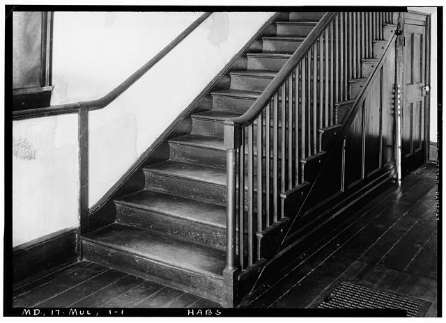 1.  Historic American Buildings Survey John O. Brostrup, Photographer October 12, 1936 10:15 A. M. DETAIL OF STAIR (SOUTH END OF ENTRANCE HALL) - Essington Hall (Interiors), Old Mount Oak Road, Bowie, Prince George's County, MD