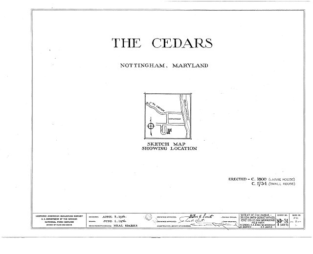 HABS MD,17-NOT,1- (sheet 0 of 8) - The Cedars, Nottingham, Anne Arundel County, MD