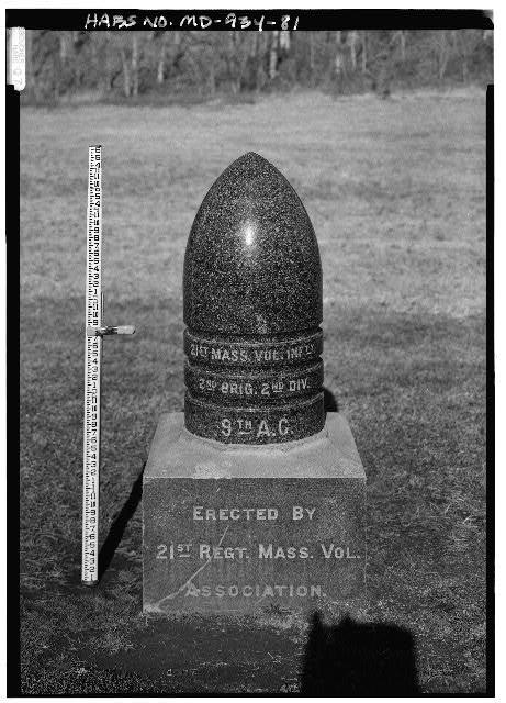 81.  21ST MASSACHUSETTS VOLUNTEER INFANTRY MONUMENT, NORTH OF BURNSIDE CREEK ALONG EAST SIDE OF ANTIETAM CREEK - Antietam National Battlefield, Sharpsburg, Washington County, MD