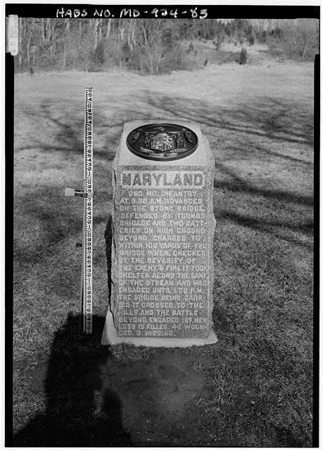 83.  2ND MARYLAND INFANTRY (U.S.A.) MONUMENT, NORTH OF BURNSIDE BRIDGE, EAST SIDE OF ANTIETAM CREEK - Antietam National Battlefield, Sharpsburg, Washington County, MD