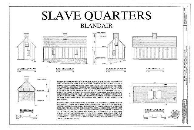 HABS MD-1149-A (sheet 1 of 1) - Blandair, Slave Quarters, 6651 Highway 175, Columbia, Howard County, MD