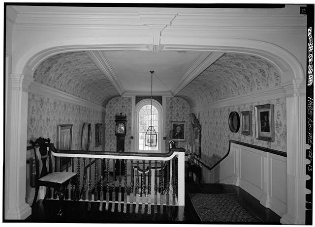 13.  INTERIOR, VIEW LOOKING NORTH FROM SECOND FLOOR HALL TO STAIR LANDING - William Pepperrell House, State Route 103, Kittery Point, York County, ME
