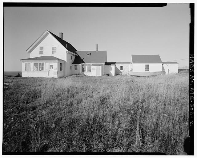2.  Keeper's house and shed, view northeast, southwest sides - Monhegan Island Light Station, Monhegan Island, ten miles south by ferry from Port Clyde, Monhegan, Lincoln County, ME