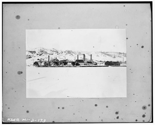 173.  Photocopied July 1978. (LGK) WINTER VIEW OF QMC SMELTER (OPENED 1898) AS SEEN FROM HOUGHTON, ACROSS PORTAGE LAKE. C. 1900. - Quincy Mining Company, Hancock, Houghton County, MI