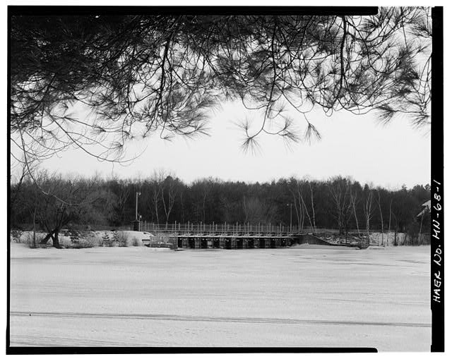 1.  Upstream view of dam, looking south - Pine River Reservoir Dam, Cross Lake, Crow Wing County, MN