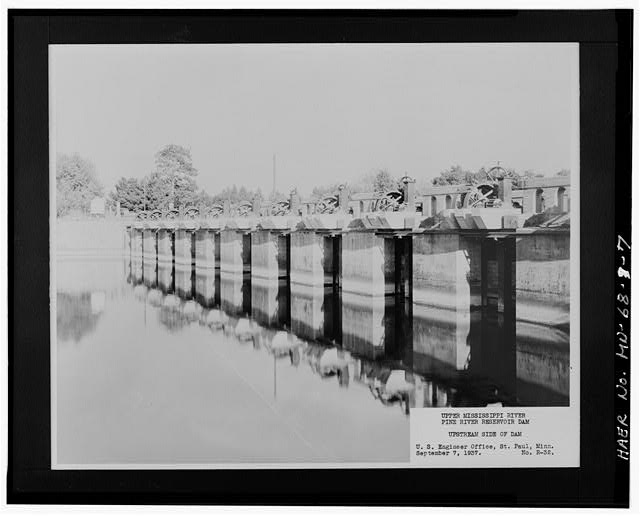 7.  Photographic copy of historic photograph, 1937, dam - Pine River Reservoir Dam, Cross Lake, Crow Wing County, MN