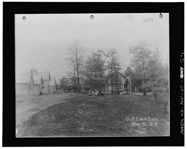 Photographic copy of historic photograph, 1937, service building on dam site - Gull Lake Reservoir Dam, Service Buildings, Lake Shore, Cass County, MN