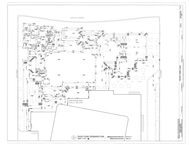 topography plan - Peavey Park Plaza, 1111 Nicolet Mall, Minneapolis, Hennepin County, MN