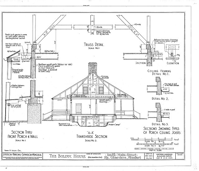 HABS MO,97-SAIGEN,6- (sheet 5 of 13) - Louis Bolduc House, 123 South Main Street, Sainte Genevieve, Ste. Genevieve County, MO