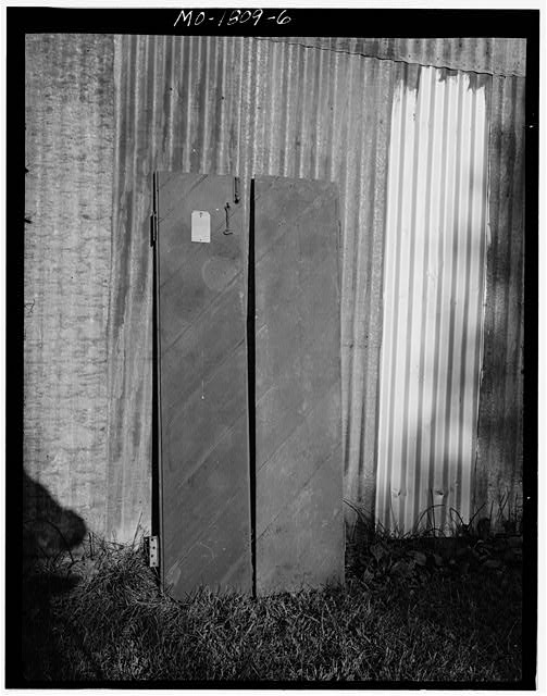 6.  Pair of narrow shutters with diagonal boards from unidentified building. ca. 1957-60 - Jefferson Barracks, Jefferson Barracks, St. Louis County, MO