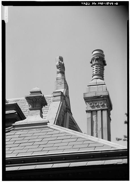 6.  DETAIL OF ROOF SHOWING CHIMNEY POT - Ogden House, 809 Hall Street, Saint Joseph, Buchanan County, MO