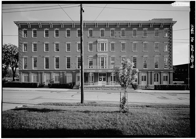 4.  NORTH FRONT WITH SCALE ROD AT RIGHT OF BUILDING - Patee House Hotel, South Twelfth & Penn Streets, Saint Joseph, Buchanan County, MO