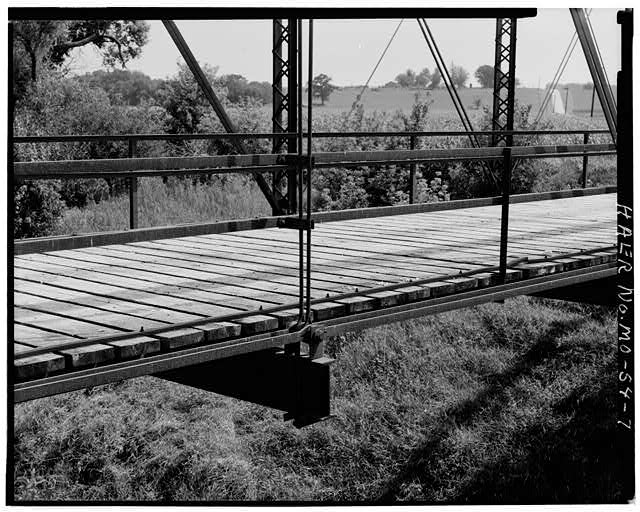 7.  CLOSEUP VIEW SHOWING DECKING AND BOTTOM CHORD - East Fork Little Tarkio Bridge, Spanning East Fork of Little Tarkio River, Fairfax, Atchison County, MO