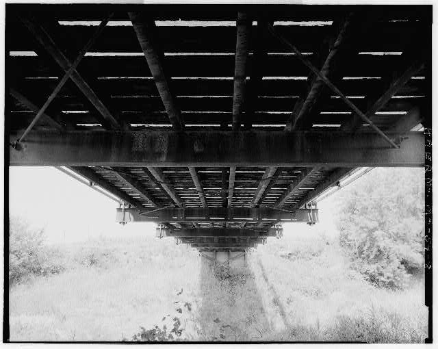 8.  VIEW SHOWING BRIDGE UNDERSIDE, LOOKING WEST SPAN - East Fork Little Tarkio Bridge, Spanning East Fork of Little Tarkio River, Fairfax, Atchison County, MO