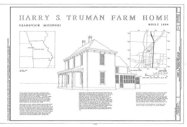 HABS MO-1937 (sheet 1 of 12) - Harry S. Truman Farm Home, 12302 Blue Ridge Boulevard, Grandview, Jackson County, MO