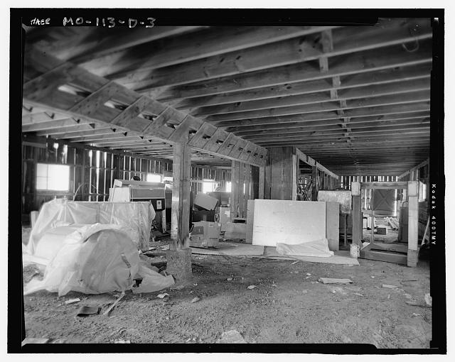 Looking Southwest at Wood Barn Interior Including Wood Support Beams and Trough - Hematite Fuel Fabrication Facility, Wood Barn, 3300 State Road P, Festus, Jefferson County, MO