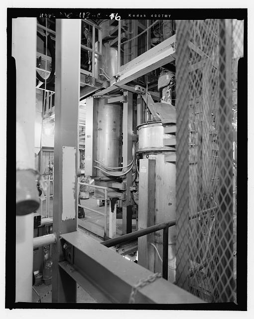 Looking Northeast in Oxide Building at Reactors on Second Floor Including Reactor One (Left) and Reactor Two (Right) - Hematite Fuel Fabrication Facility, Oxide Building & Oxide Loading Dock, 3300 State Road P, Festus, Jefferson County, MO