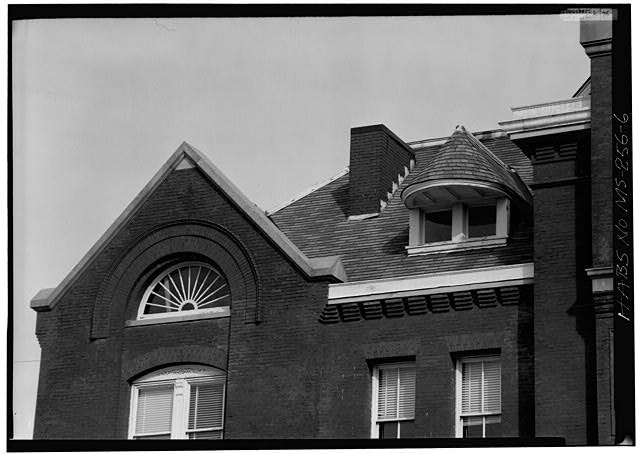 6.  West front, detail roof - Old Federal Building, On Square at Jackson Street, Oxford, Lafayette County, MS