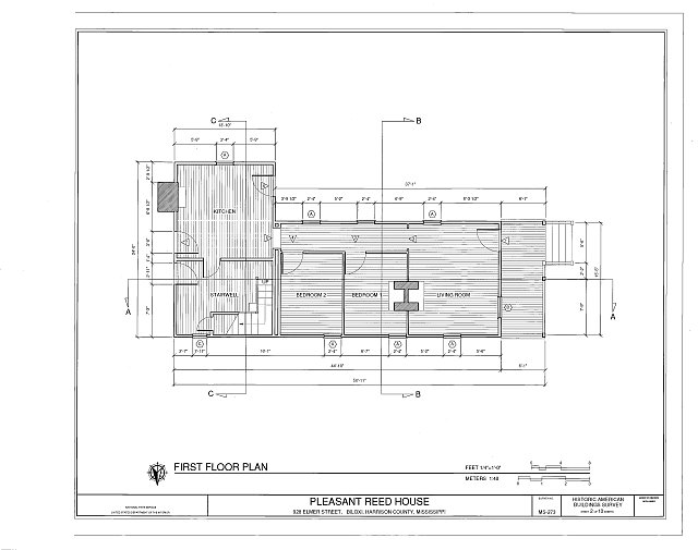 first floor plan - Pleasant Reed House, 386 Beach Boulevard (moved from 928 Elmer Street), Biloxi, Harrison County, MS