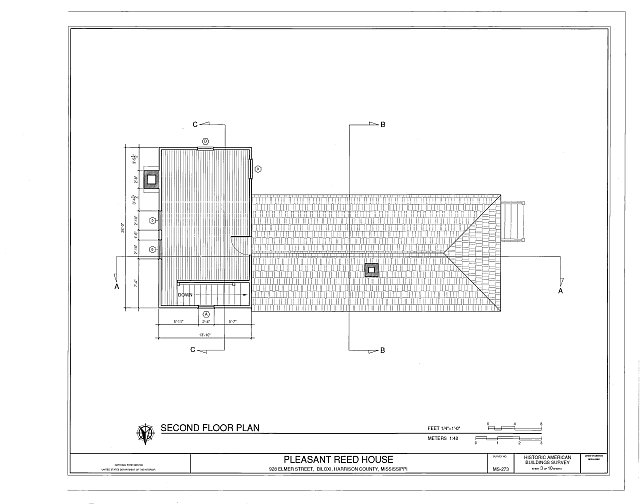 second floor plan - Pleasant Reed House, 386 Beach Boulevard (moved from 928 Elmer Street), Biloxi, Harrison County, MS