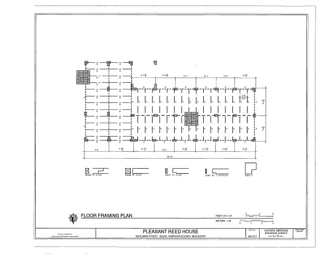 floor framing plan - Pleasant Reed House, 386 Beach Boulevard (moved from 928 Elmer Street), Biloxi, Harrison County, MS