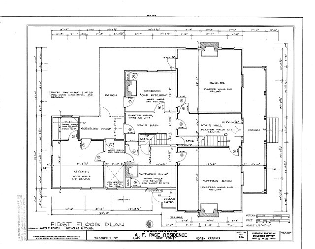 HABS NC,92-CARY,1- (sheet 5 of 23) - A. T. Page House, Wilkenson Street, Cary, Wake County, NC