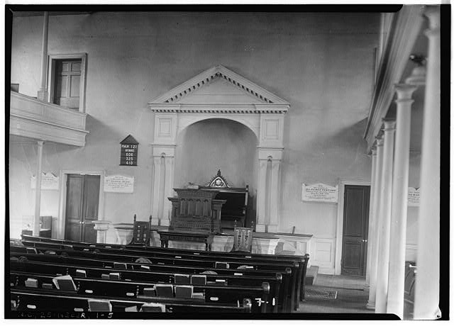 5.  Historic American Buildings Survey, Wootten-Moulton, Photographers May 2, 1934 INTERIOR VIEW (LOOKING TOWARD PULPIT). - First Presbyterian Church, New & Middle Streets, New Bern, Craven County, NC